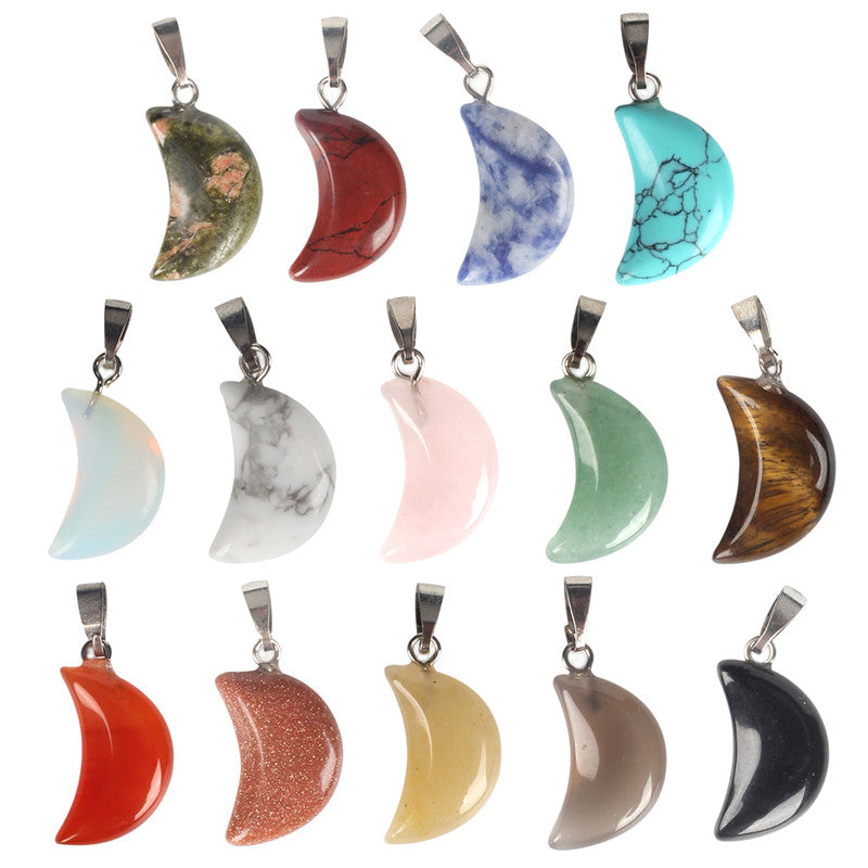 14 PCS Crescent Moon Shaped Natural Stone Healing Chakra Reiki Lovely Pendant Charms
