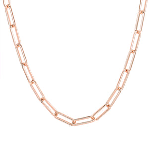Rose Gold Plated Paperclip Chain Necklace, 24 Inches