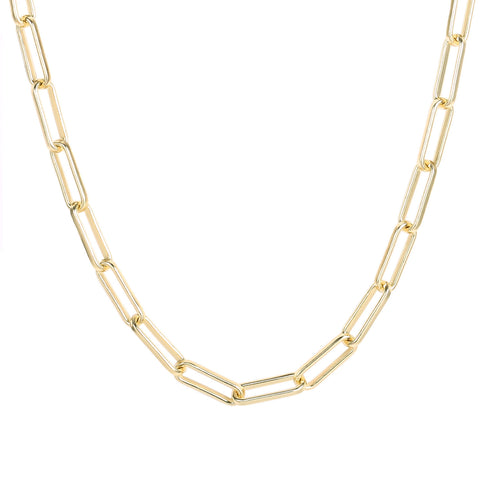 1PCS 14K Gold Plated Paperclip Chain Necklace