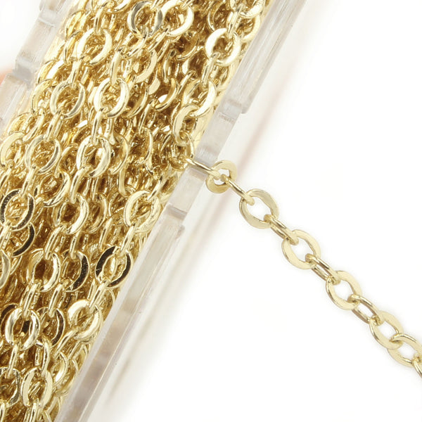 33 Feet 2 MM Gold Plated Solid Brass Cable Chain Link Spool