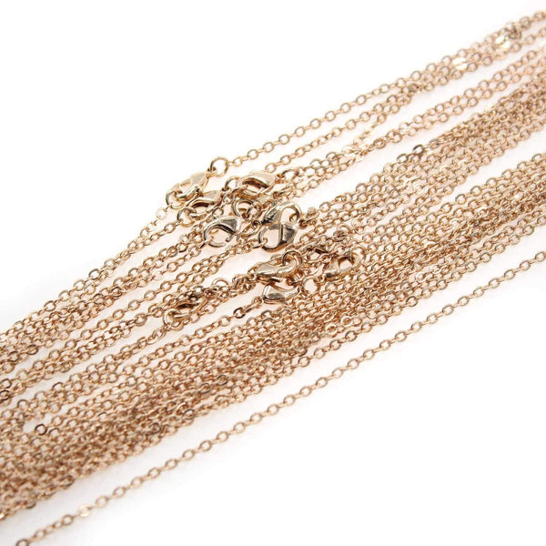 120PCS Rose Gold Plated Brass Cable Chains for Jewelry Making 18-30 inch