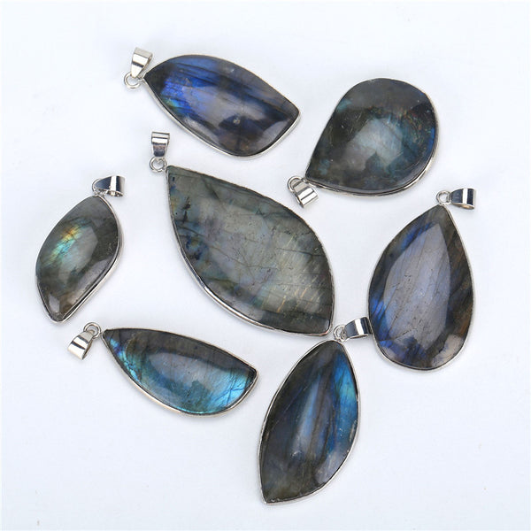 1PCS Natural Labradorite Crystal Stone Healing Charm Pendant With 3PCS Free Chains