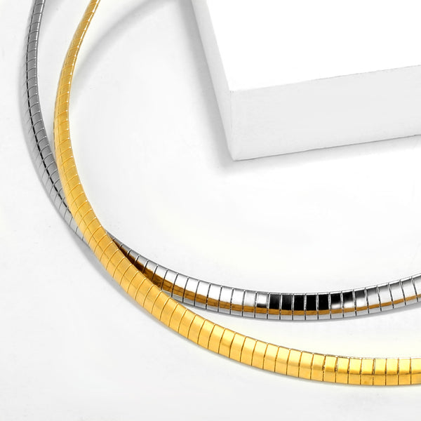 2PCS 6MM 18K Gold Plated Flat Snake Chain Omega Necklace