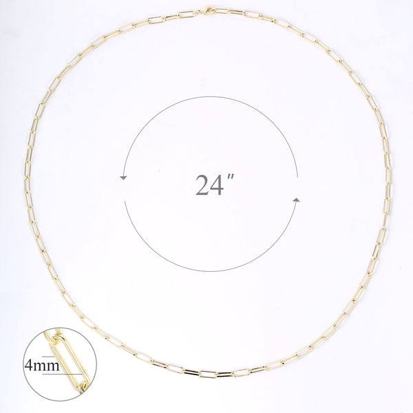 14K Gold Plated Paperclip Chain Necklace, 24 Inches