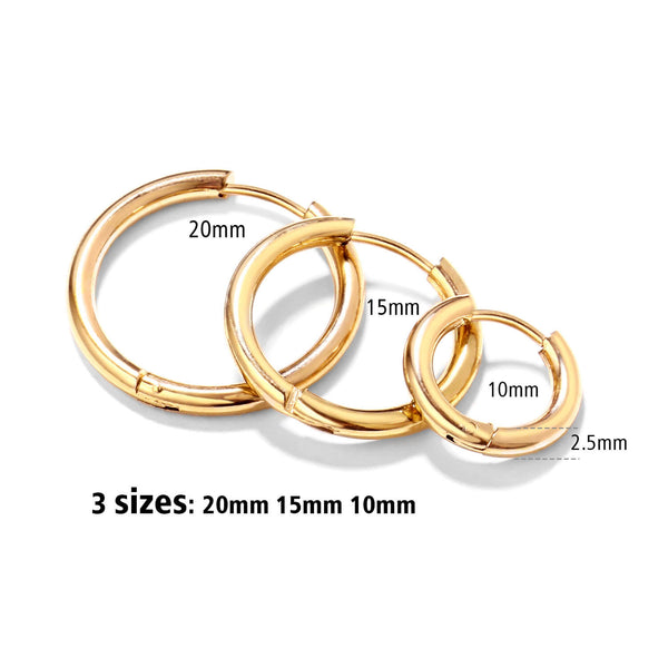 3 Pairs Small Hoop Earrings Set for Women Men Girls(10mm,15mm,20mm)