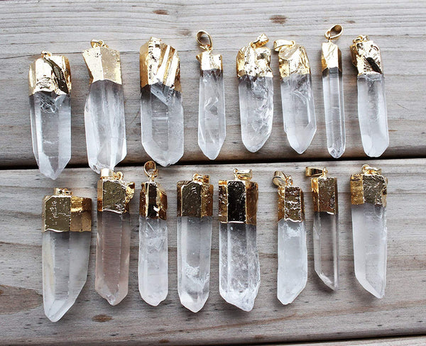 4PCS Gold Plated Raw Natural Clear Quartz Crystal Stone Pendant