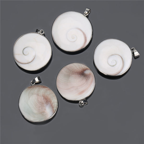 1PCS Natural Shell Round Shiva Third Eye Pendant With 3PCS Free Chains