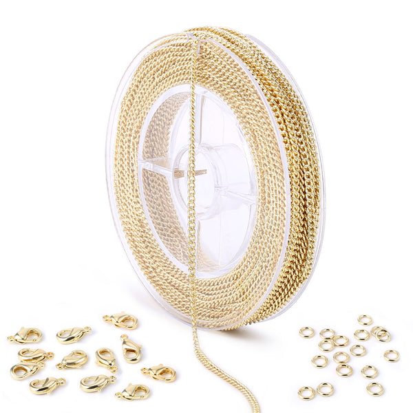 33 Feet 2 MM Gold Plated Solid Brass Curb Chain Link Spool