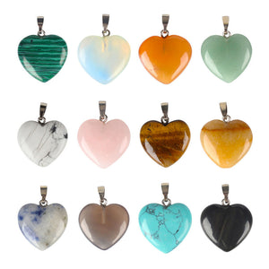 12PCS Colorful Nature Stone Healing Chakra Reiki Love Heart Pendant