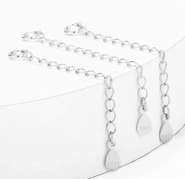 3PCS 925 Sterling Silver Curb Chain Extenders-Extension for Necklace & Bracelet