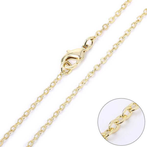 12 PCS Gold Plated over Solid Brass Cable Chain 18-30 Inches, 2MM