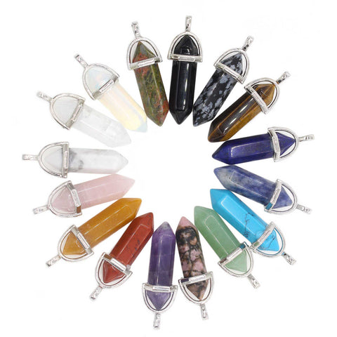 16PCS Assorted Nature Hexagonal Quartz Stone Pendants