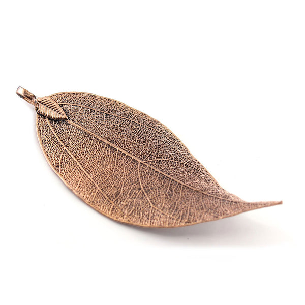 6PCS Antique Copper Plated Natural Leaf Pendants