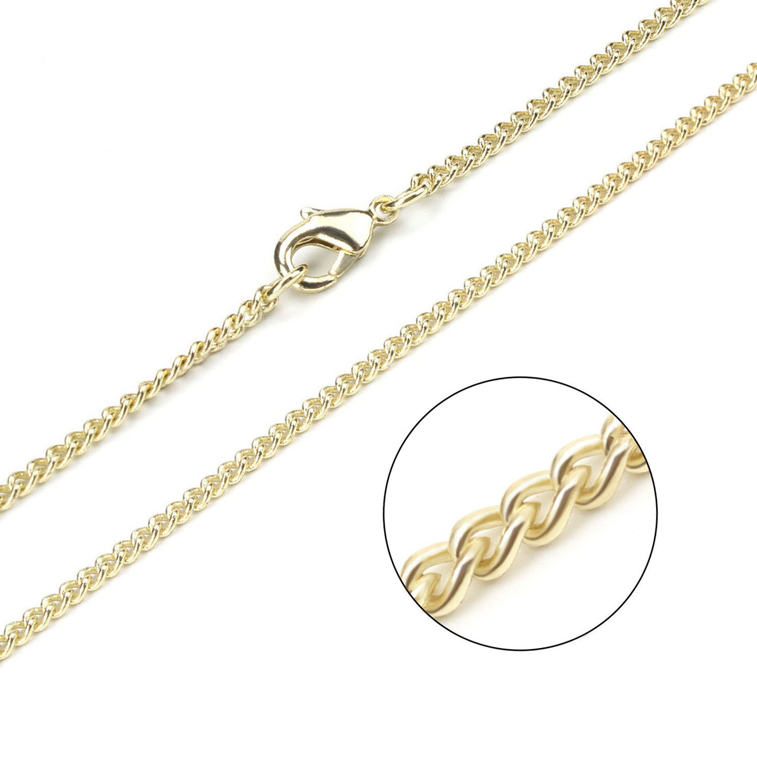 12PCS Gold Plated Solid Brass 2mm Curb Chain 18-26 Inches