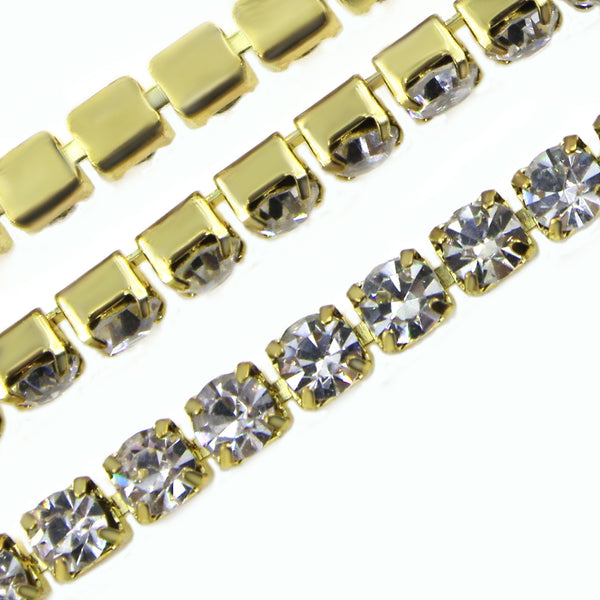 Clear Glass Rhinestone Close Trim Cup Chain, Golden, 10 Yard, 3 MM