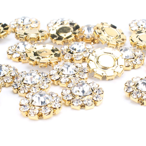 24PCS Gold Tone Clear Rhinestone Flat Back Buttons