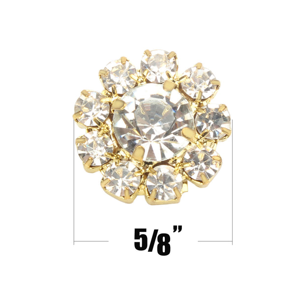 24PCS 16MM Clear Rhinestone Buttons, Gold Tone ,Loop