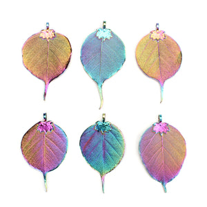 6 PCS Rainbow Natural Real Bodhi Leaf Pendants