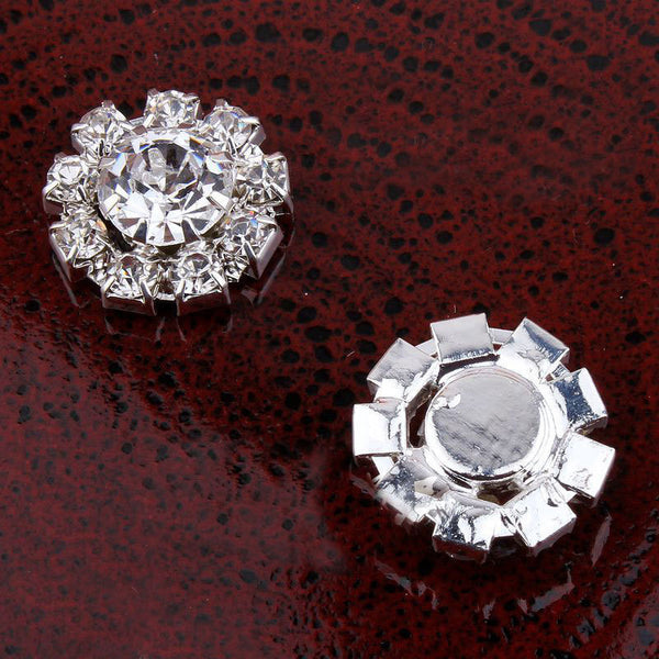 24PCS 16MM Clear Rhinestone Buttons, Silver Flat Back