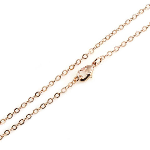 12 PCS Rose Gold Plated over Brass Chain 18-30 Inches, 2MM