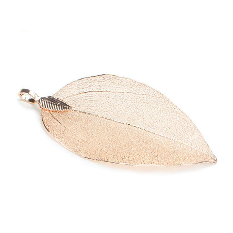 6PCS Rose Gold Plated Natural Real Filigree Leaf Pendants