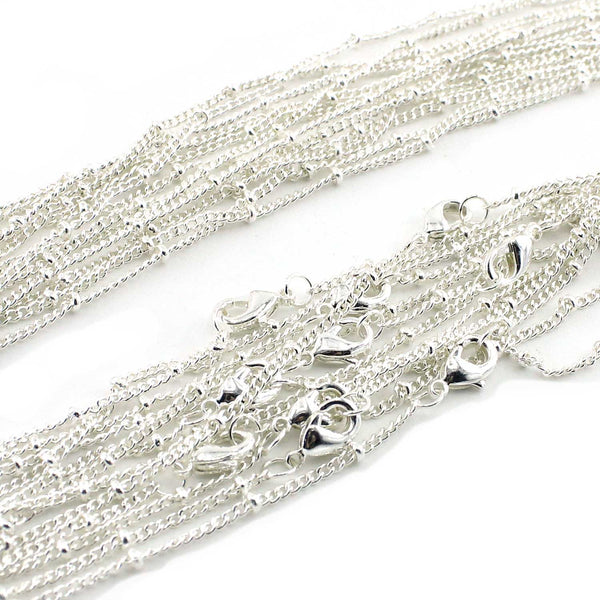12 PCS Silver Plated over Solid Brass Satellite Chain 16-30 Inches, 1.5MM