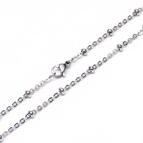 12 PCS Stainless Steel Beaded Chain Satellite Chains Necklace 18-30 Inches