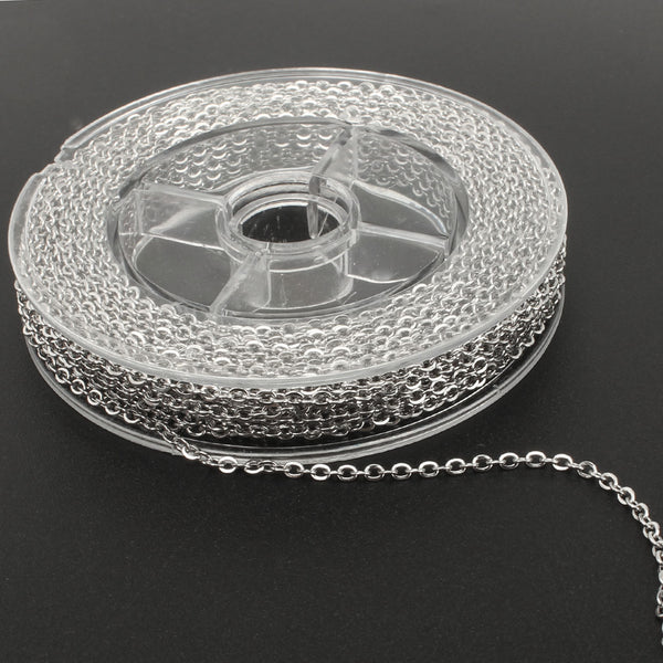 33 Feet 2 MM Stainless Steel Flat Cable Link Chain Spool