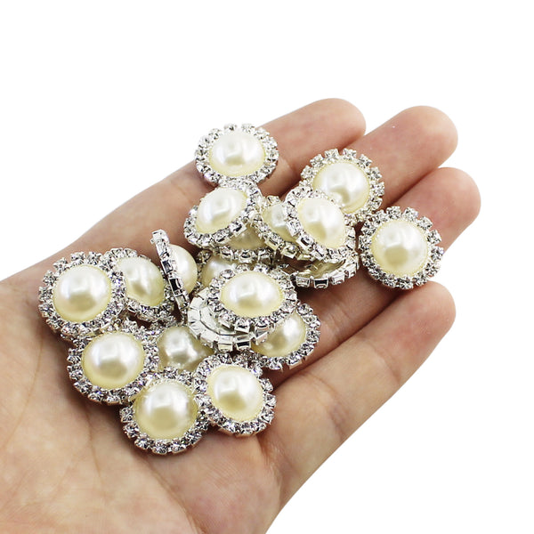 20 PCS 18MM FlatBack Round Ivory faux Pearl Rhinestone Buttons,