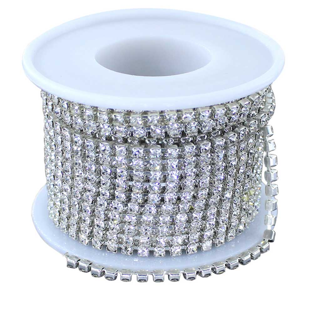 Clear Glass Rhinestone Close Trim Cup Chain, Silver, 10 Yard, 3 MM