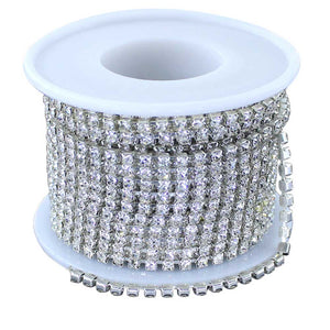 10 Yard, 3 MM Clear Glass Rhinestone Chain Spool