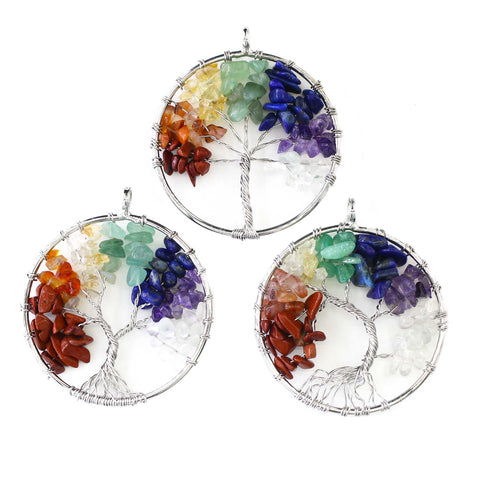 3PCS Handmade Wire 7 Chakra Crystal Tree of Life Pendants