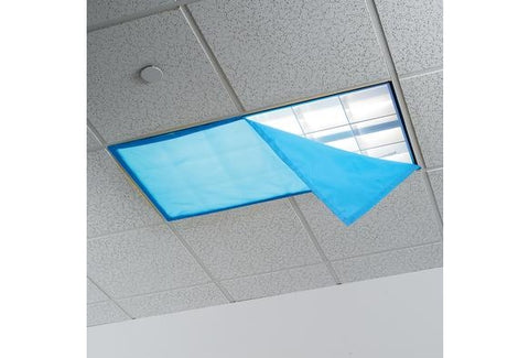 Fluorescent Light Covers for Classroom or Office, 48 x 24 inches - Set of 4 - Blue