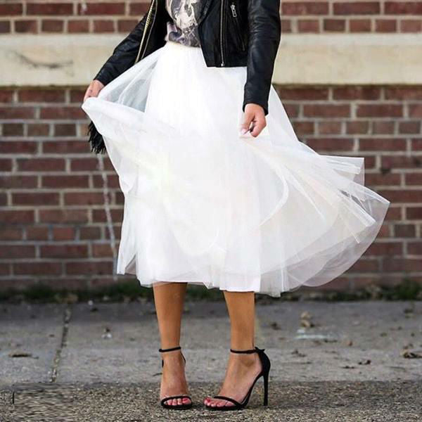 Pleated Midi Soft Tulle Skirt