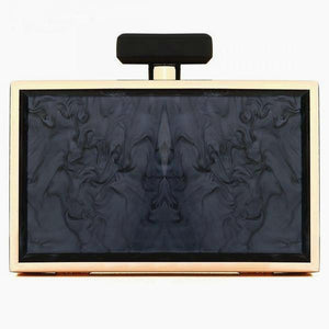 Iridescent Chain Strap Box Clutch - Black