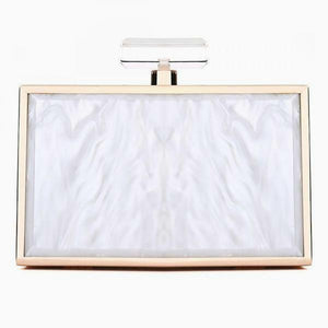 Iridescent Chain Strap Box Clutch - White