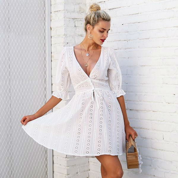 Embroidered Lace Flare Dress