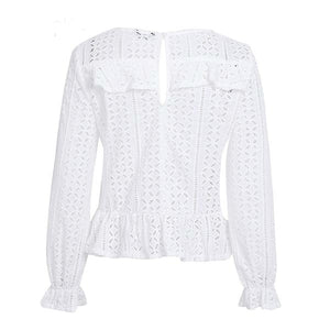 Textured Lace Ruffle Blouse