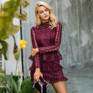 Ruffle Lace Hollow Out Dress