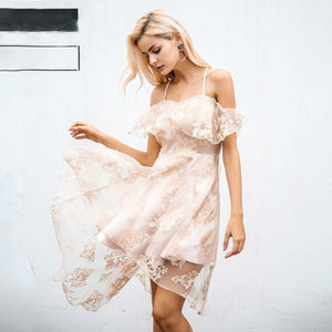 Floral Lace Ruffle Dress