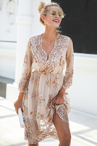 V-Neck Sequin Mesh Dress