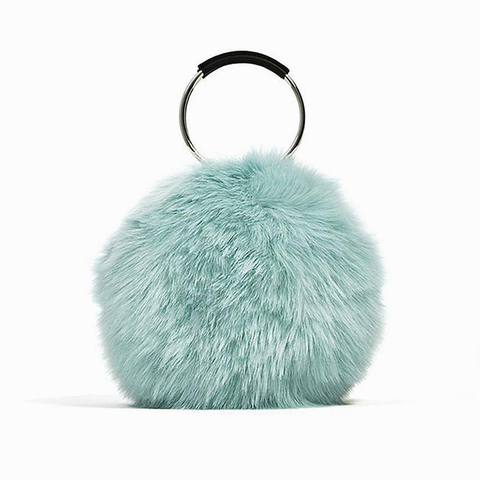 Faux Fur Ring Handbag - Blue