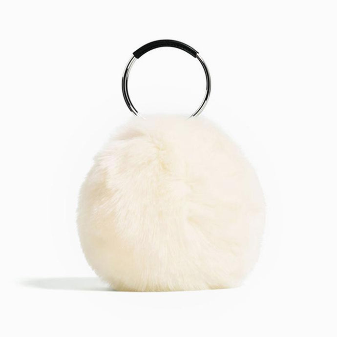 Faux Fur Ring Handbag - Pink