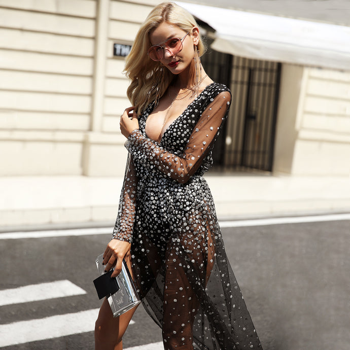 Sequin V-Neck Long Dress