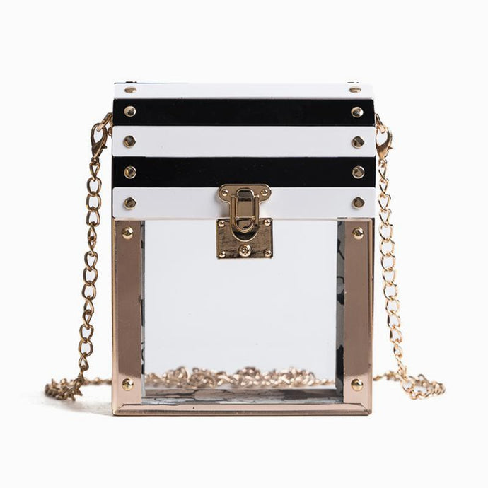 Stripe Transparent Crossbody Bag
