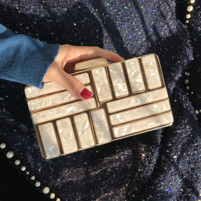 Geometric Clutch Bag - Champagne