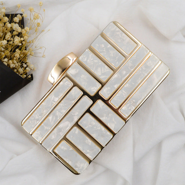 Geometric Clutch Bag - White