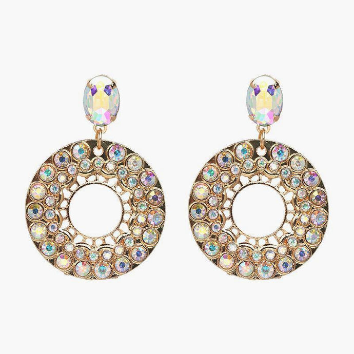 Pearl Crystal Statement Earrings - Iridescent