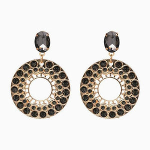 Pearl Crystal Statement Earrings - Black
