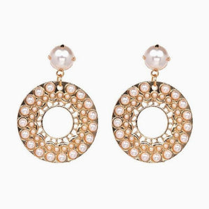 Pearl Crystal Statement Earrings - White